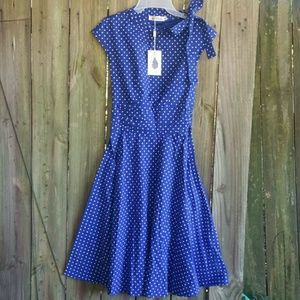 Blue & White Polka Dot Dress Size Small